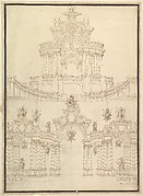 Designs for Componets of Stage Sets: at Bottom: Spiral and Wreathed-Colonnaded Pavillion with Central Arch Surmounted by Military Trophy and Another Hanging Inside Arch; at Top: Centralized Pavillion Decorated by Pediment Surmounted by Fountain.