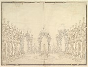 Designs for Stage Set: Three Pavillions in Background with