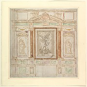 Architectural Design for a Monumental Altar, with a Composition with Saint Michael Against Satan and two Saints (Saints Peter and Paul?)
