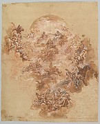 Study for a Ceiling Decoration: Coronation of the Virgin (recto); Female Head (verso)