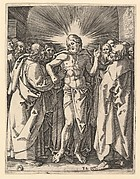 The Doubting Thomas; Christ among his disciples, Saint Thomas touching Christ's wound, after Dürer