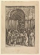 High priest refusing sacrificial lamb from Joachim, after Dürer