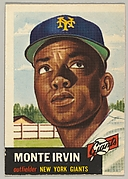 Card Number 62, Monte Irvin, Outfielder, New York Giants, from the series Topps Dugout Quiz (R414-7), issued by Topps Chewing Gum Company