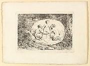 Nymphe S'asseyant Sur les Amins de Deux Satyres