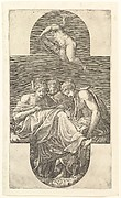 Three Muses and a Putto with a Lyre, a cruciform composition, from a series of eight compositions after Francesco Primaticcio's designs for the ceiling of the Gallery of Ulysses (destroyed 1738-39) at Fontainebleau