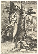 Venus pricked by the thorns on a rose bush, in the background Mars chasing Adonis, in the foreground winged cupid resting