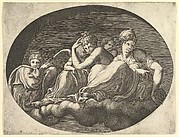 Venus and Cupid, Two Other Goddesses, and a Putto, from a series of eight compositions after Francesco Primaticcio's designs for the ceiling of the Ulysses Gallery (destroyed 1738-39) at Fontainebleau