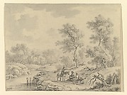 Landscape with Horseman Talking to Seated Figures