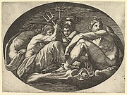 Pluto, Neptune, Minerva and Apollo, from a series of eight compositions after Francesco Primaticcio's designs for the ceiling of the Ulysses Gallery (destroyed 1738-39) at Fontainebleau