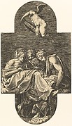 Three Muses and a putto above with a lyre, from a series of eight compositions after Francesco Primaticcio's designs for the ceiling of the Ulysses Gallery (destroyed 1738-39) at Fontainebleau