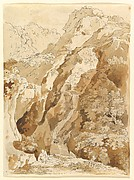 Reclining Man in a Mountainous Landscape with Waterfalls