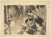 A Young Woman Washing Her Feet at the Edge of a Stream