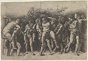 Bacchanal with Silenus; a frieze composition with ten figures around  Silenus who is carried by two satyrs