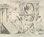 Title plate to set of four prints (plus this title page) of frescoes by Andrea Mantegna in the Ovetari Chapel of the Church of the Eremitani, Padua