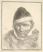 Old Man with White Collar and Pointed Hat