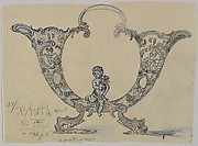 Design for a Double Horn-shaped Silver Dish with Dolphin Feet Adorned with a Putto