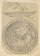 Design for a Covered Silver Dish with Tavern Scene and Horse Handle