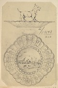 Design for a Covered Silver Dish with Aesop Fable and Dog Handle