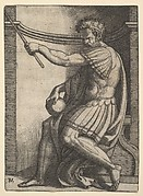 A Roman emperor sitting in a niche holding a sceptre in his raised left hand and a globe in his right hand