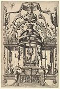 Surface Decoration, Grotesque with Strapwork, Burial Scene in the Tempietto, in the Bas Relief Esther before Ahasuerus from Veelderleij Veranderinghe van grotissen ende Compertimenten...Libro Primo