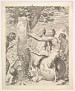 Two satyrs, traditionally known as the 'Mockers,' laughing and using their limbs to pin a drawing to a tree trunk, at left a smiling man points toward the drawing, at right is a laughing woman, a globe underneath one of the satyrs