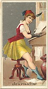 Journalist, from the Occupations for Women series (N166) for Old Judge and Dogs Head Cigarettes