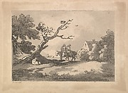 Landscape with Figures on Horseback, Another Resting Under a Gnarled Tree, and a Cottage at Right Nestled in Trees (from Imitations of Modern Drawings)