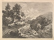 Landscape with a Figure Herding Cattle Along a Road Beside a Cottage, a Hillside at Left, a Forest in the Valley Below at Right (from Imitations of Modern Drawings)