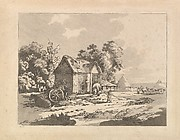 Landscape with Figures Storing Hay in a Barn, a Cart and Horse Lying Down at Left (from Imitations of Modern Drawings)