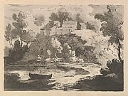 Hilly River Landscape, a Boat in the Water at Foreground Left, a Figure on the Far Shore, Houses on a Wooded Hill Beyond (from Imitations of Modern Drawings)