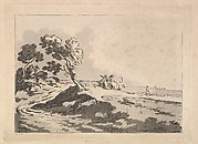 Open Landscape with Three Horsemen in the Middle Distance Heading to the Right, Windblown Trees at Left (from Imitations of Modern Drawings)
