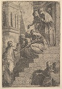 Christ addressing a group of women seated and standing on steps