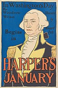 In Washington's Day / By / Woodrow / Wilson / Illustrated / by / Howard / Pyle / Begins / in / HARPER'S / JANUARY
