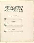 Table of contents and colophon for the book: Parallèlement