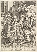 Envy or Avarice at the right being driven from the temple of the Muses by Hercules who raises a club, the muses watching from the left