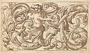 Horizontal Panel Design with a Man and Two Fantastical Creatures Interspersed between an Acanthus Rinceau