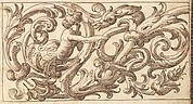 Horizontal Panel Design with a Young Man and a Fantastical Creature Interspersed between Acanthus Rinceaux