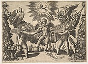 Two Putti Presenting Cups Full of Gold to the God of Riches