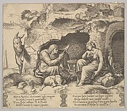 Plate 1: Apuleius changed into a donkey listening to the story told by the old woman spinning