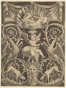 A panel of ornament with a putto in the centre holding a windmill