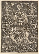 A panel of ornament, putti standing on cornucopia in lower section