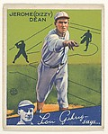 Jerome (Dizzy) Dean, St. Louis Cardinals, from the Big League Chewing Gum series (R320) for the Goudey Gum Company