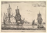 Large Sailing Vessel and Rowing Boat