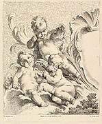Trois Amours à côté d'un cartouche (There Loves Next to a Cartouche), from Quatrieme Livre de Groupes d'Enfans (Fourth Book of Groups of Children)