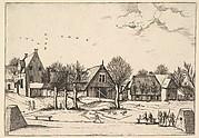 Country Village, archers in the foreground from Multifariarum casularum ruriumque lineamenta curiose ad vivum expressa