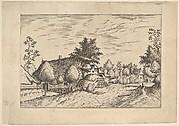 Village Street, hay stacked in front of a farm from Praediorum villarum et rusticarum casularum icones elenoantissimae ad vivum in apre deformatae