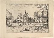Farmstead, cows and herdsman in the foreground from Praediorum villarum et rusticarum casularum icones elenoantissimae ad vivum in apre deformatae