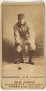 Schoeneck, 1st Base, Indianapolis, from the Old Judge series (N172) for Old Judge Cigarettes
