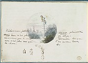 Roundel with Bird in a Landscape and Small Sketches