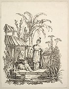 Seated Man and a Woman Carrying a Fish